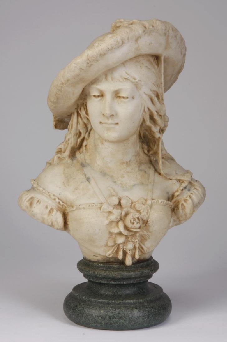 "20th c. cast bust of a young lady, 16""h"