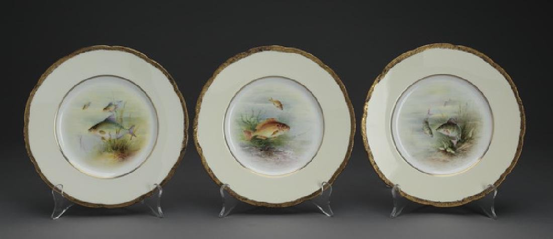 (3) Early 20th c. Minton porcelain plates, signed