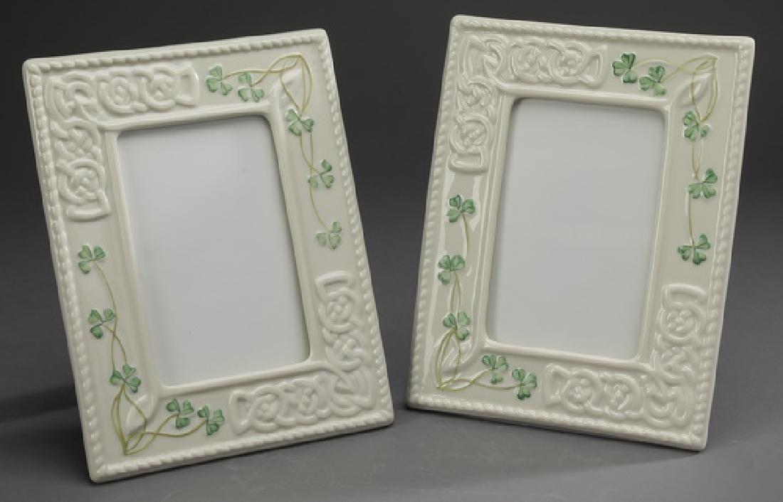 (2) Belleek porcelain 'Tara' photo frames