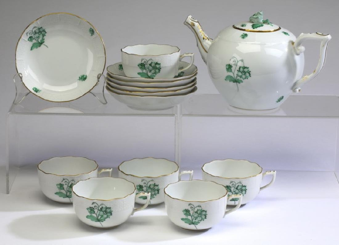 (13) Pc Herend hand painted tea service for 6, marked