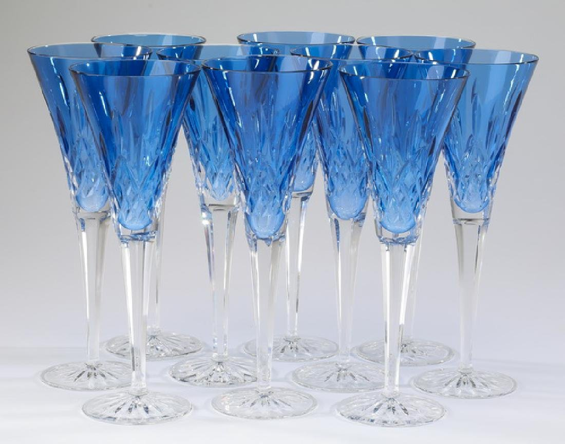 (10) Waterford sapphire 'Lismore' champagne flutes