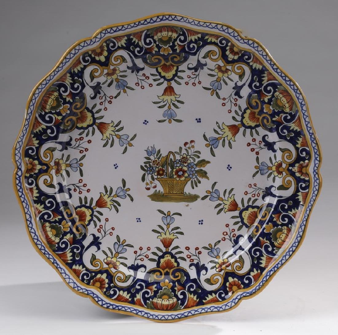 Early 20th C French Rouen Faience Plate Marked