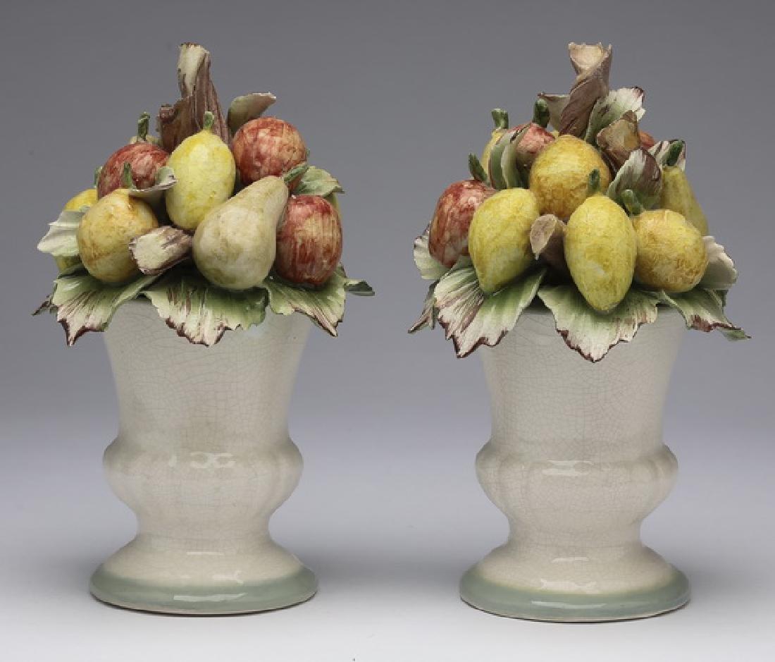 """Pair of Capodimonte porcelain fruit topiaries, 8""""h"""