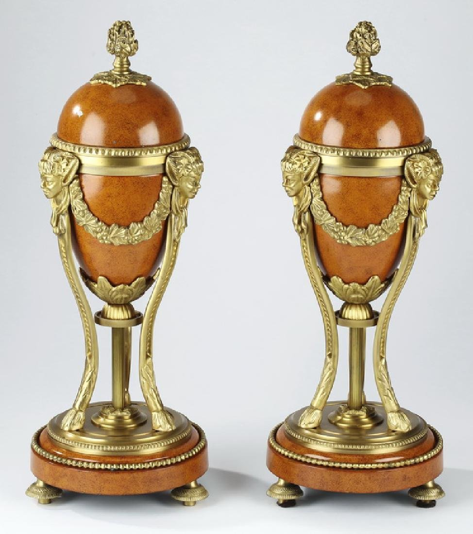 (2) French Empire style gilt mounted cassolettes