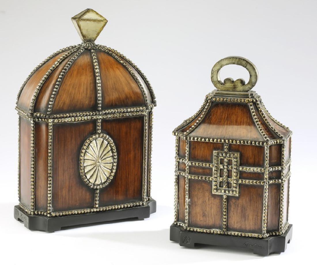 (2) Italian style lidded boxes