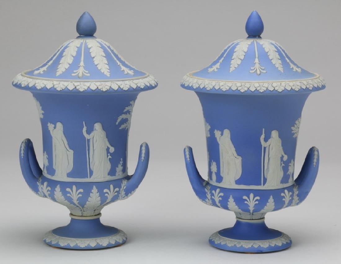 "(2) 19th c. Wedgwood blue jasperware urns, 10""h"
