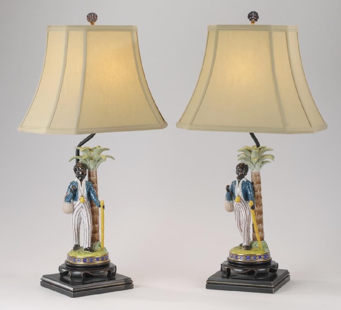 "(2) Porcelain minstrel figures mounted as lamps, 28""h"