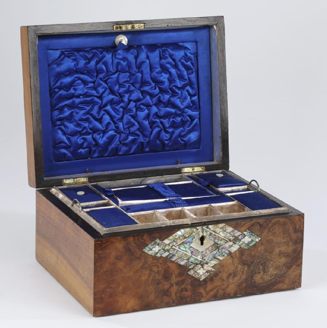 19th c. burl veneered gentleman's travel case