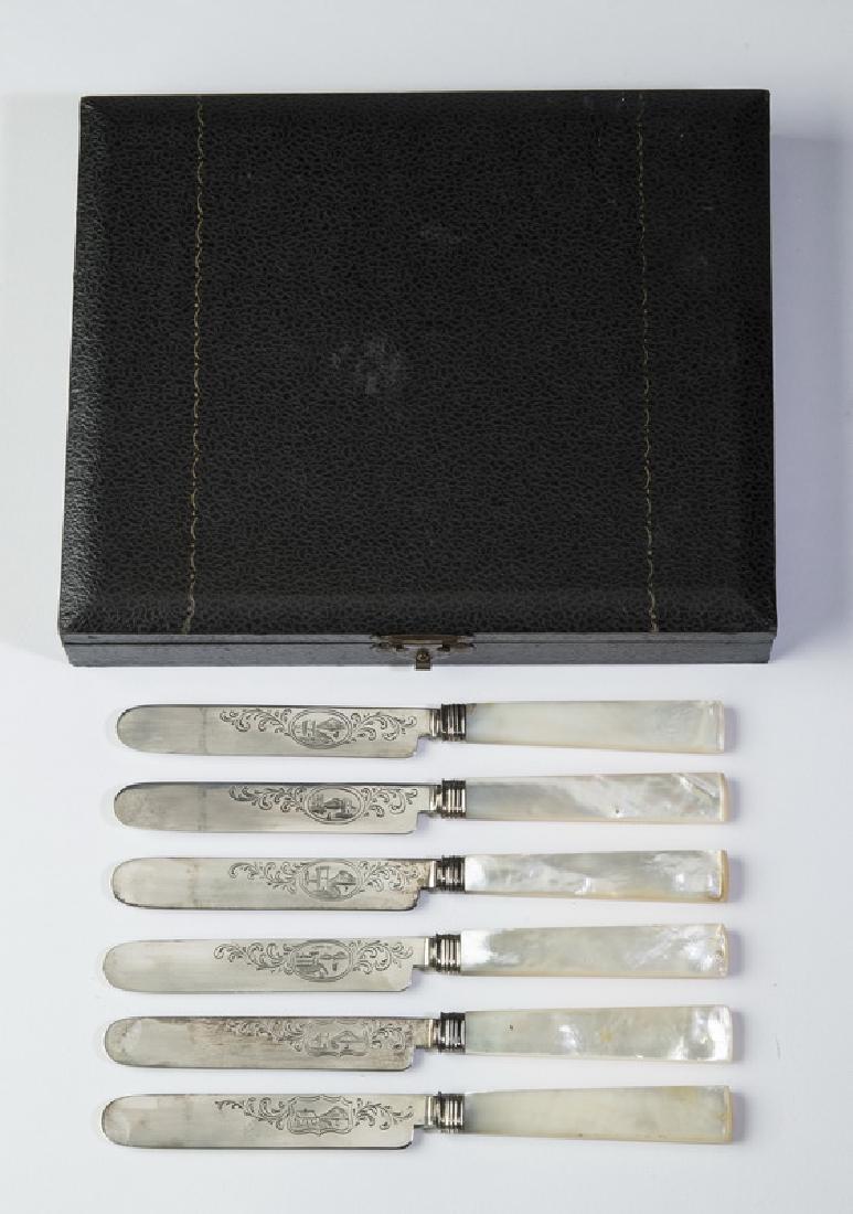 (6) Pcs.Tifft & Whiting coin silver knives, w/ box