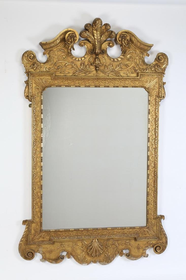 "George II style carved gilt wood mirror, 66""h"