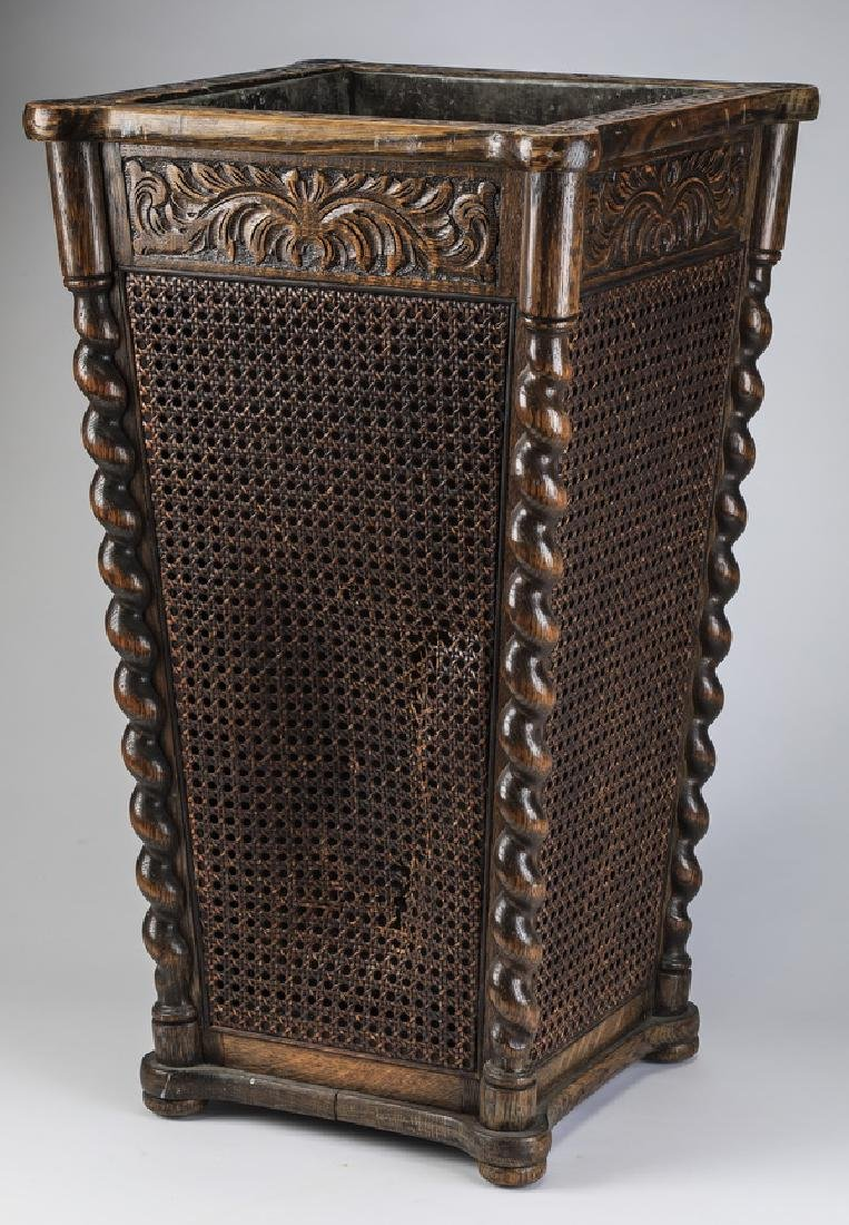 "19th c. carved walnut and cane umbrella stand, 26""h"