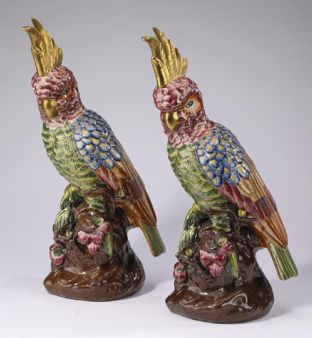 (2) Porcelain hand decorated cockatoos