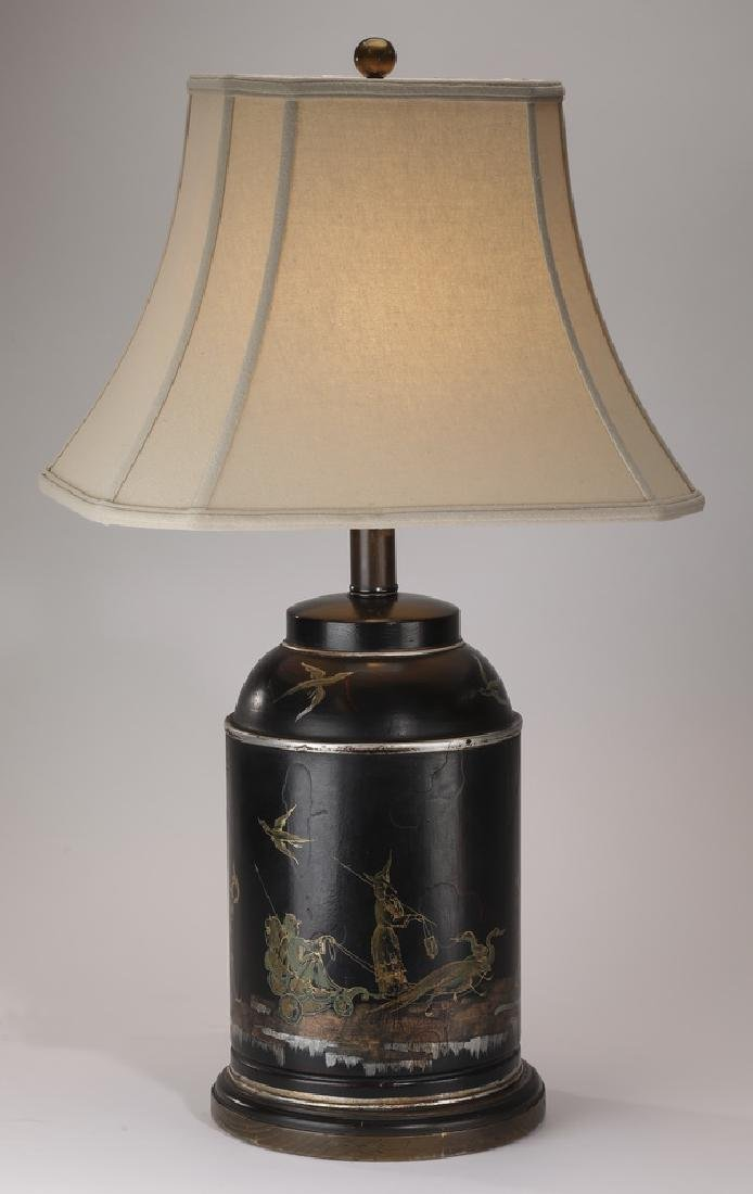 Chinoiserie inspired tole table lamp w/ shade