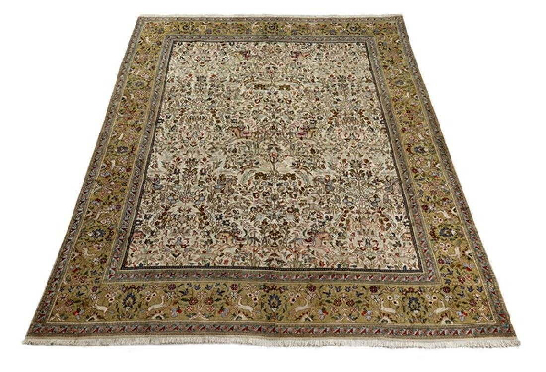 Hand knotted wool Persian Tabriz hunt carpet, 12 x 9