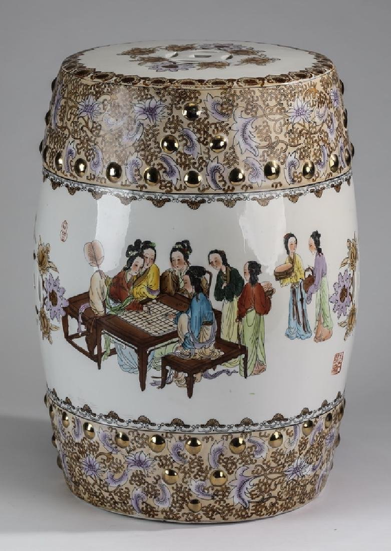 Chinese polychrome garden seat w/ beauties