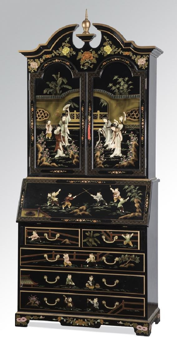 Chinoiseire lacquered & paint decorated secretaire
