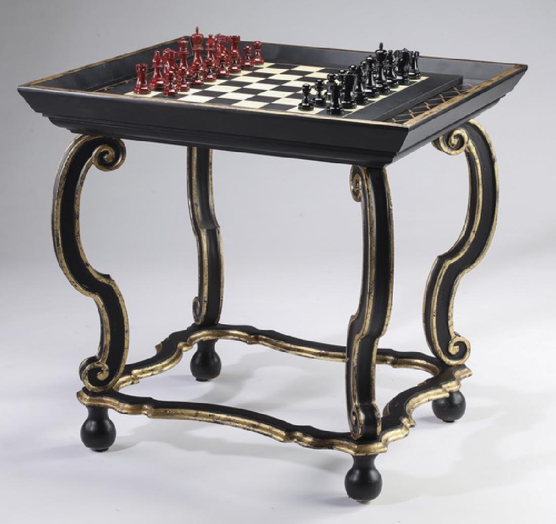 Ebonized & paint decorated side table w/ chessboard