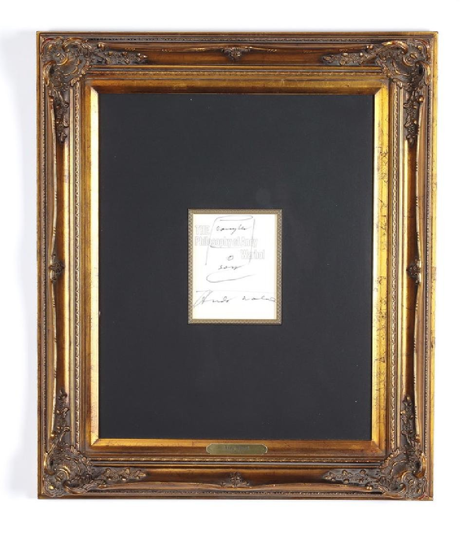 Andy Warhol signed book title page, framed