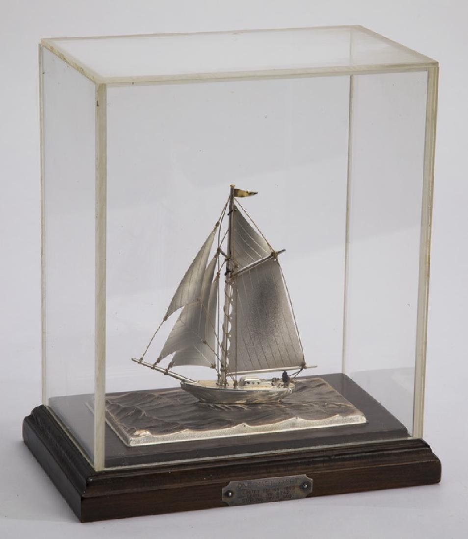 "Sterling silver yacht, limited edition, 9""h"