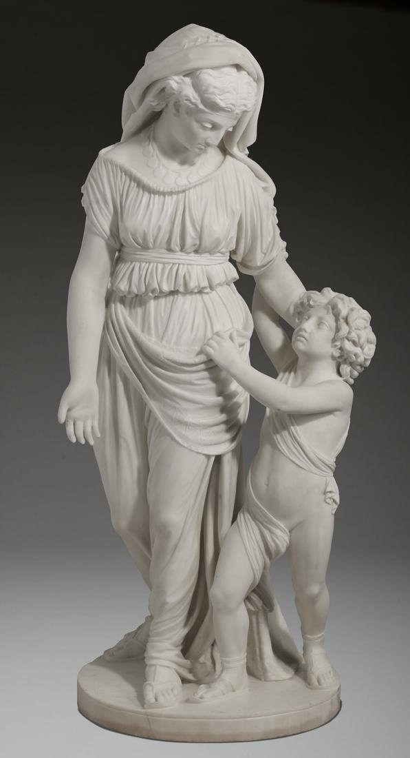 """19th c. Continental marble sculpture, 50""""h"""