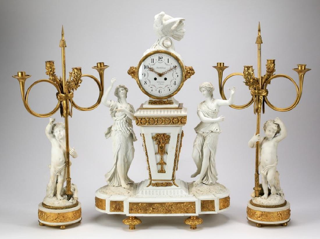 French bisque porcelain clock set, 19th c.