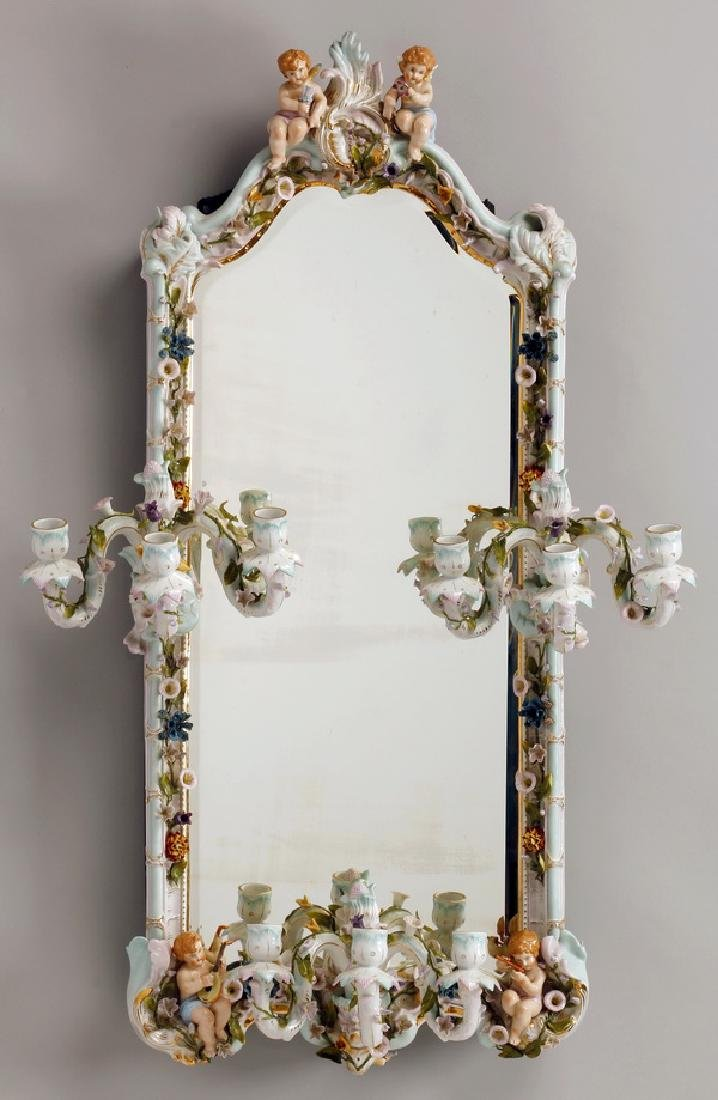 Early 20th c. German porcelain mirror w/candleholders