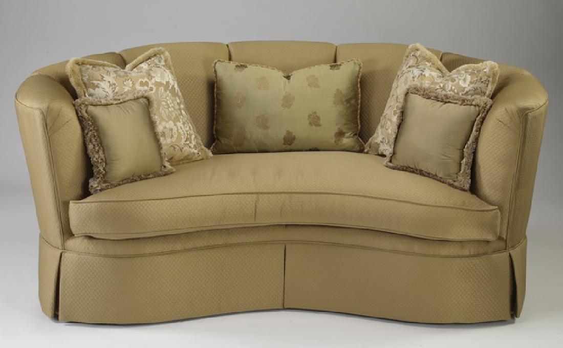 """Henredon silk curved back sofa, 76""""w"""
