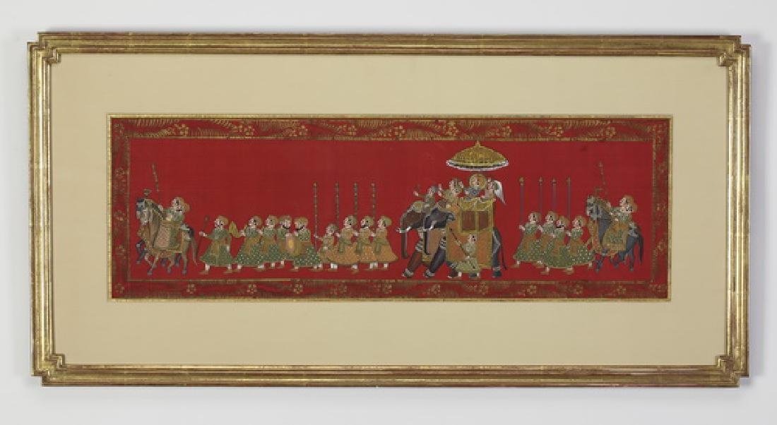 """Framed Indo-Persian style painting on silk, 38""""l"""