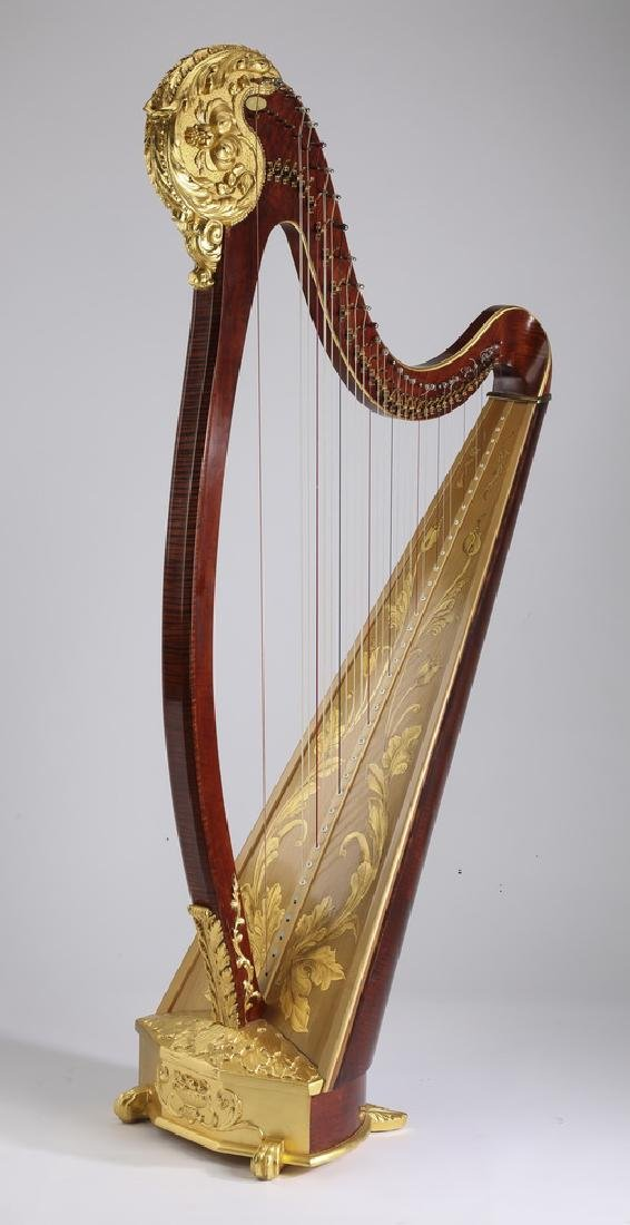 Hand crafted 35-string lever harp w/ 23kt gilding