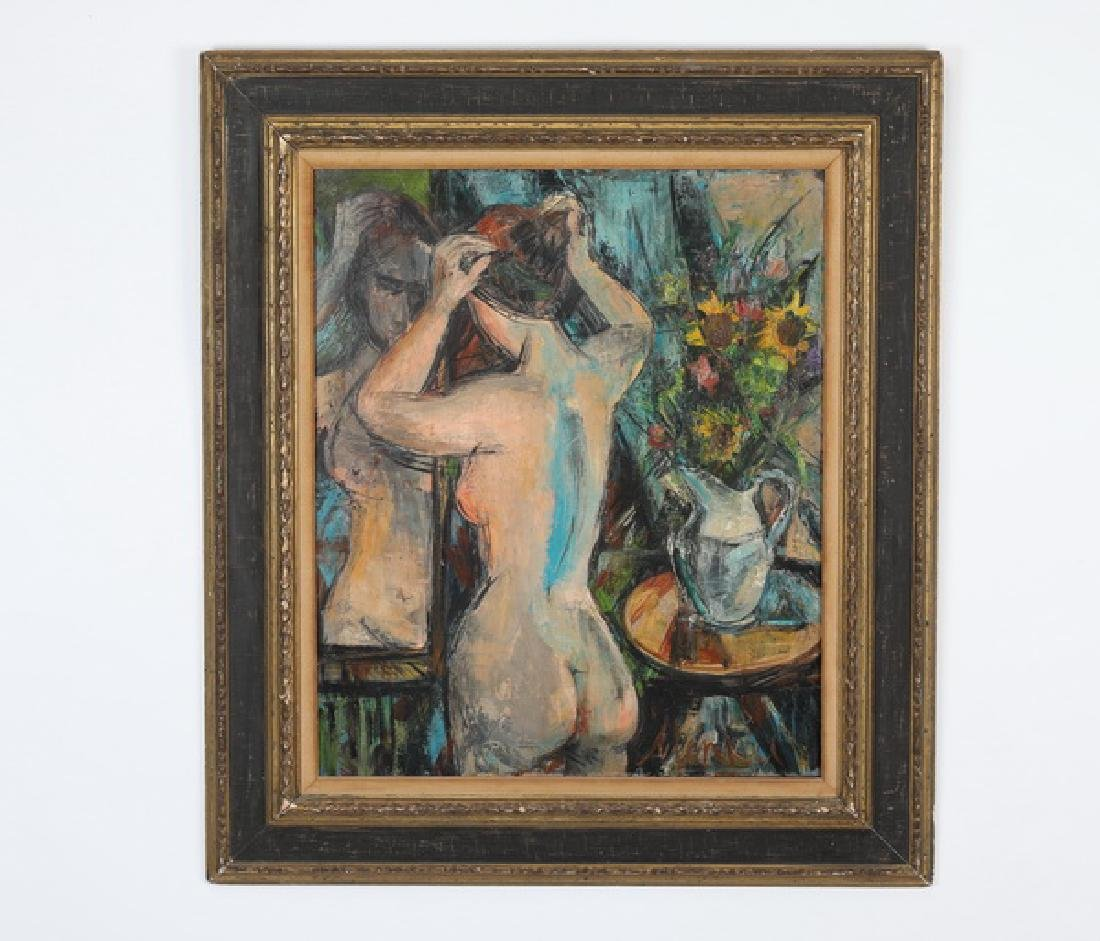 Sigmund Menkes (Polish) signed O/c of abstract nude