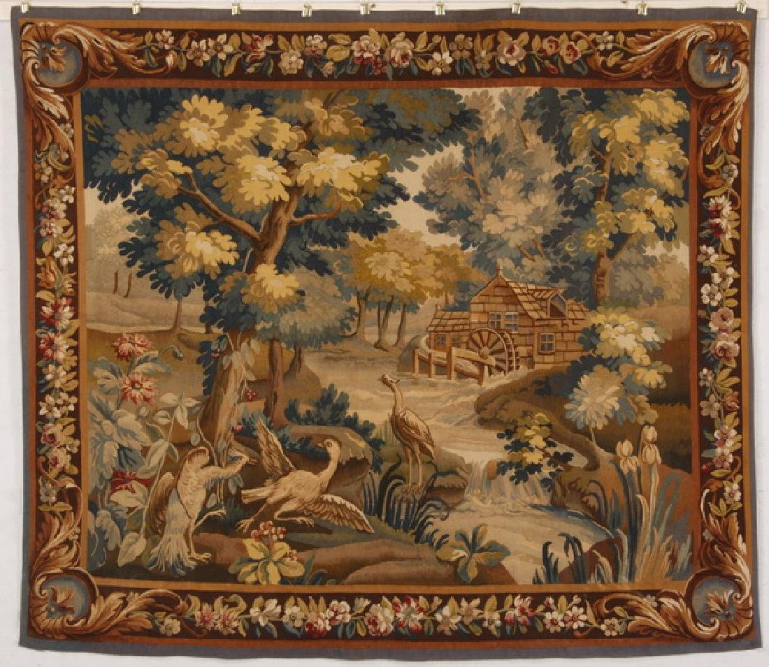 """Late 19th c hand woven Verdure style tapestry, 72""""h"""