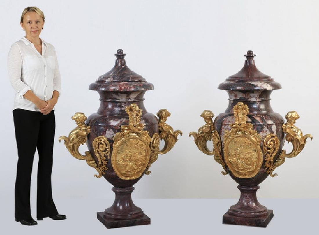 """(2) Monumental bronze mounted marble urns, 55""""h"""