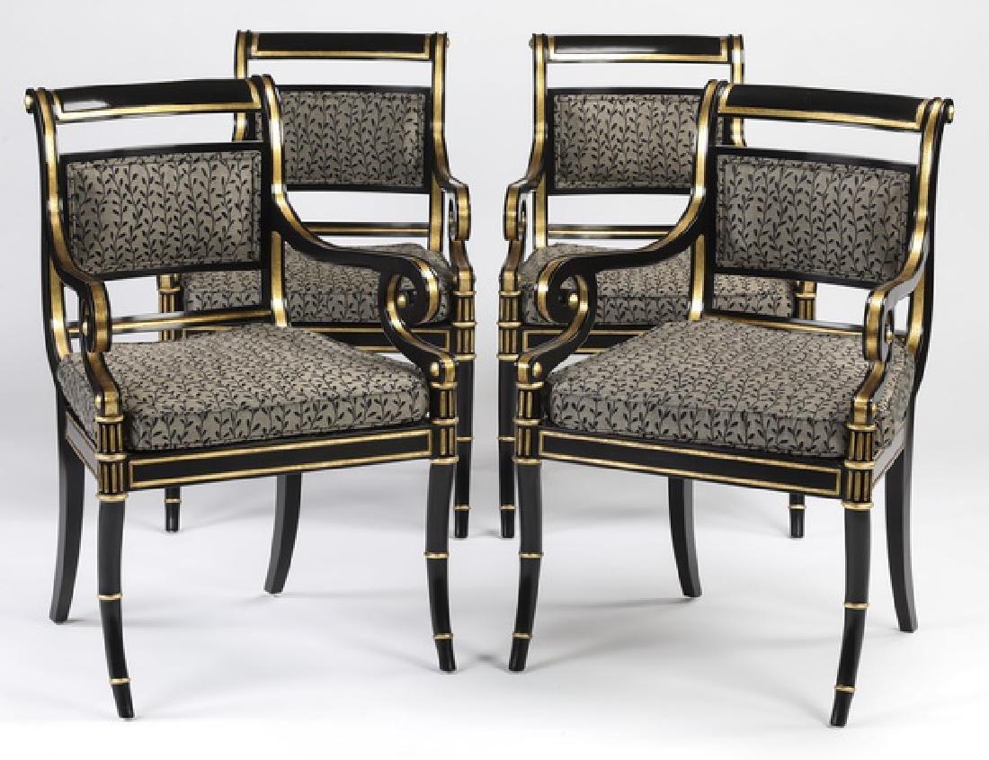 (4) Regency style ebonized and gilt armchairs