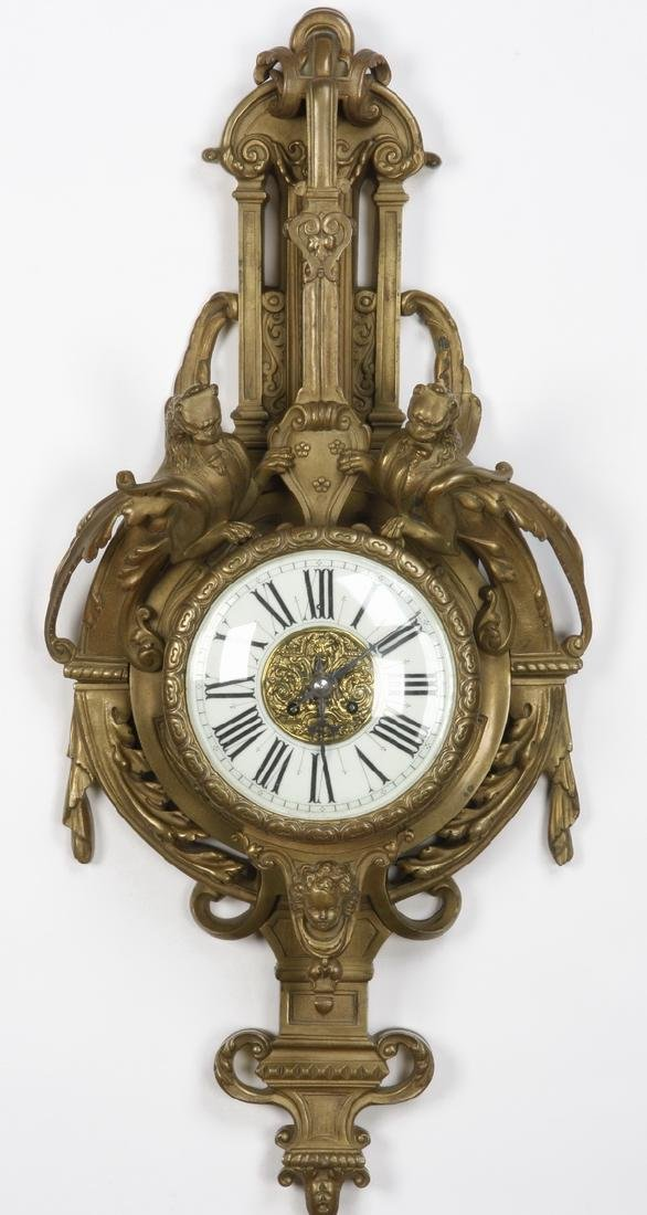 19th c. French gilt bronze cartel clock