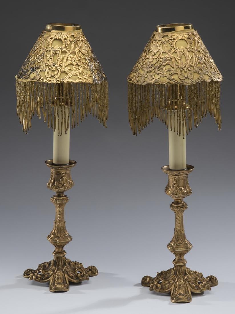 Rococo Revival gilt bronze candlesticks w/ shades