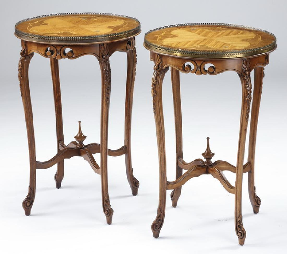 "(2) Italian marquetry inlaid side tables, 28""h"