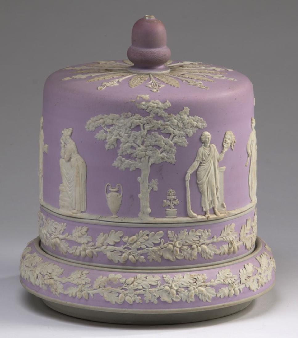 "Lavender jasperware cheese dome, ca 1860, 11""h"