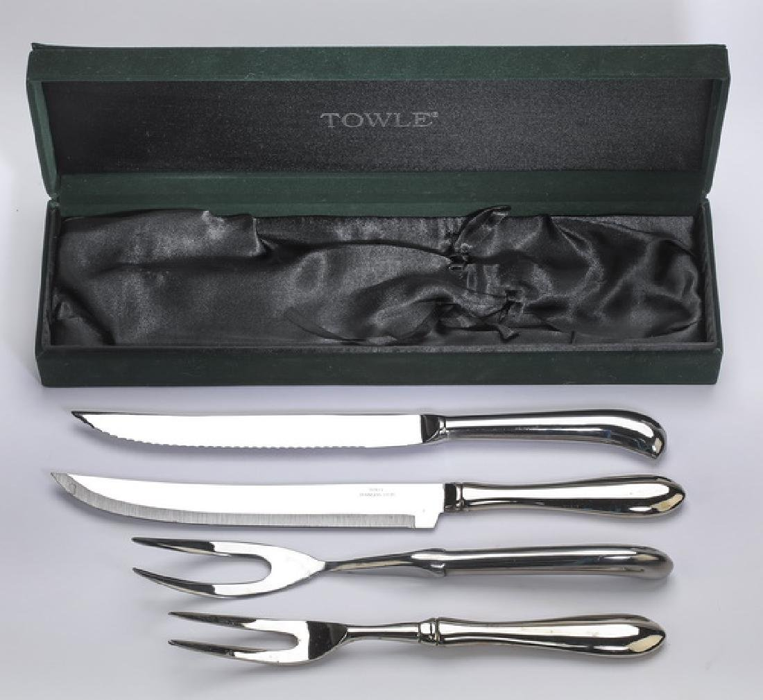 (2) Towle stainless steel carving sets