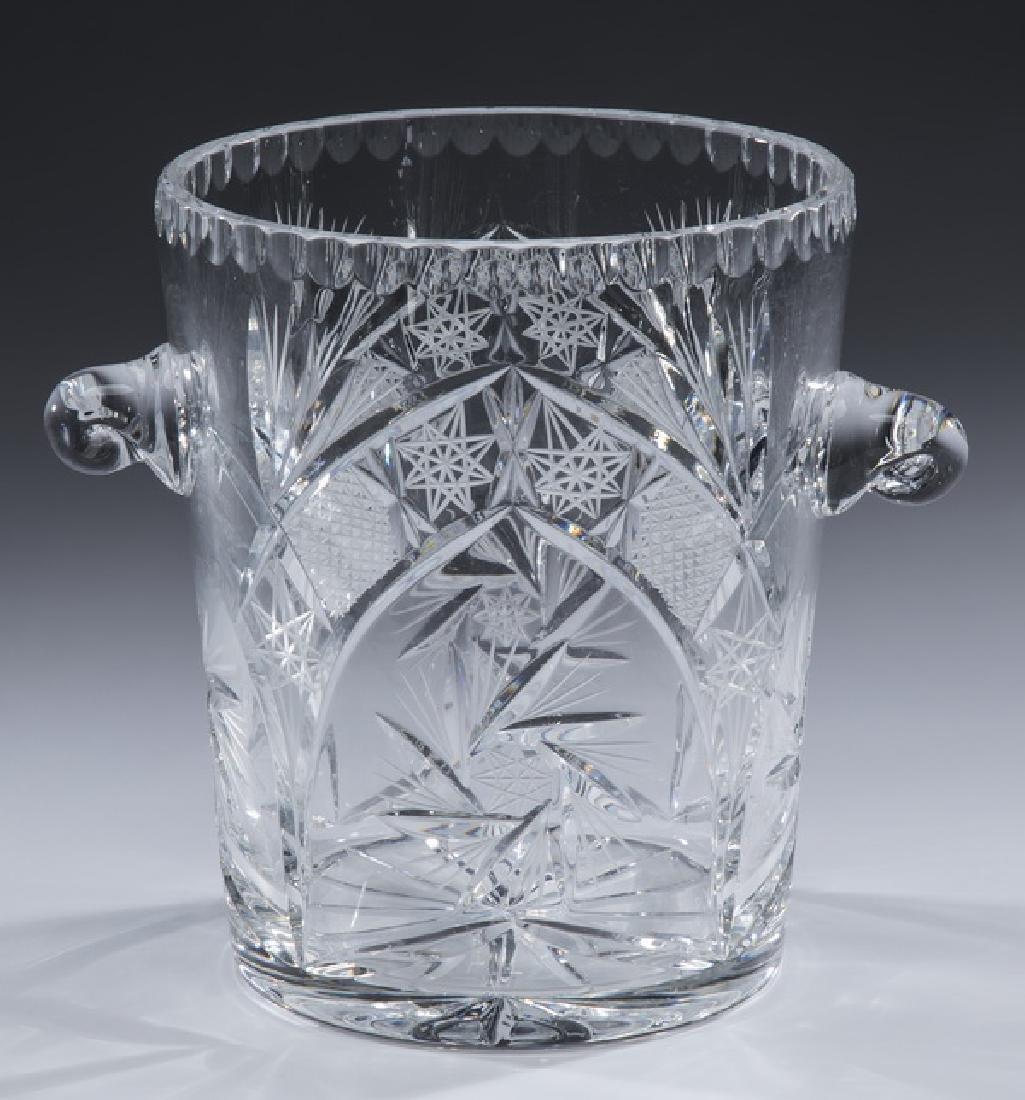 "American brilliant cut crystal ice bucket, 9""h"