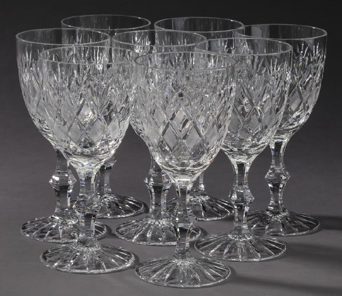 "(8) Cut crystal water goblets, each 6.5""h"