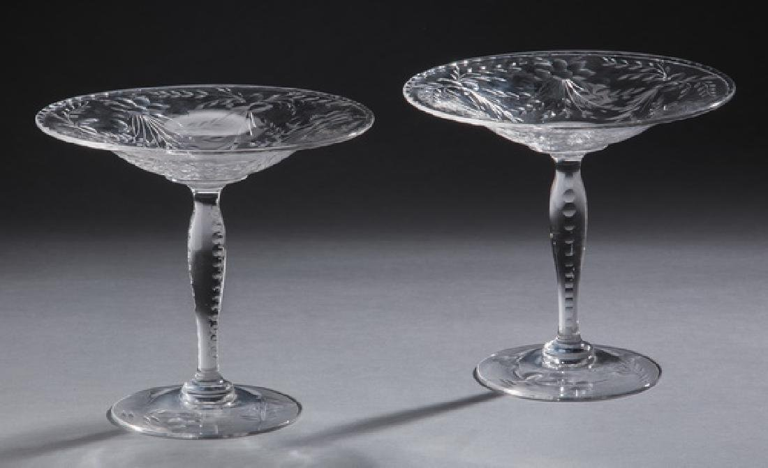 Pair of floral etched crystal compotes
