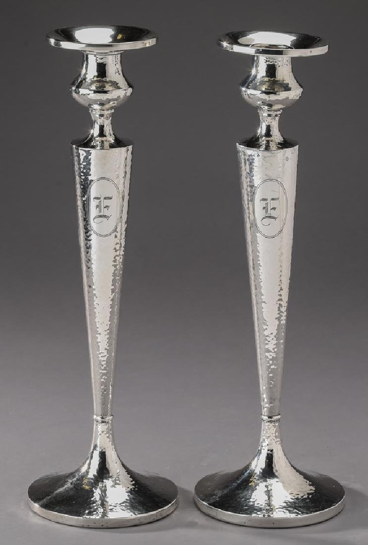 Sterling silver weighted monogrammed candlesticks