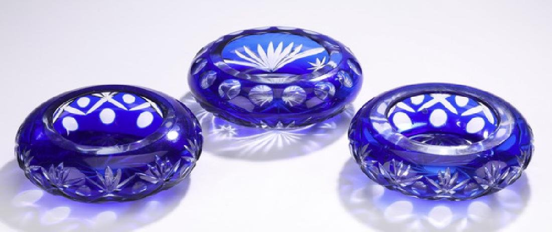 (3) Bohemian cobalt cut crystal votive holders
