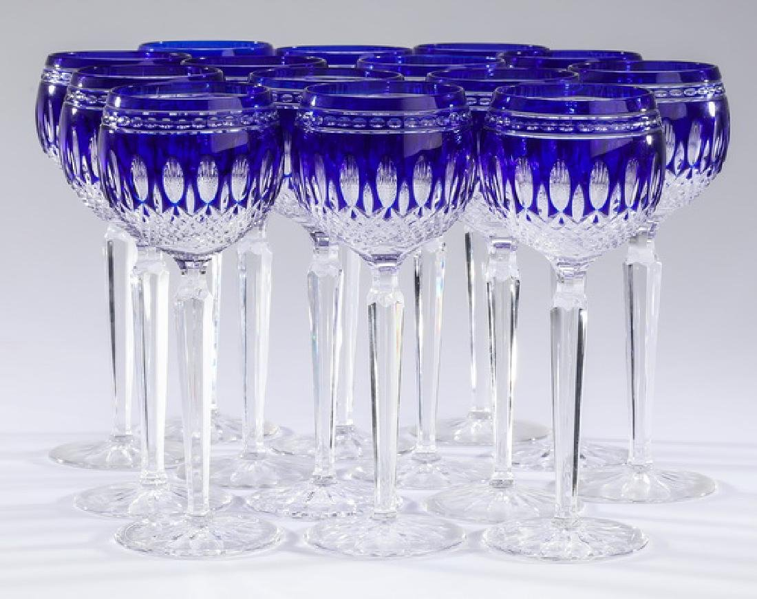 (14) Waterford 'Clarendon Cobalt' signed wine hocks