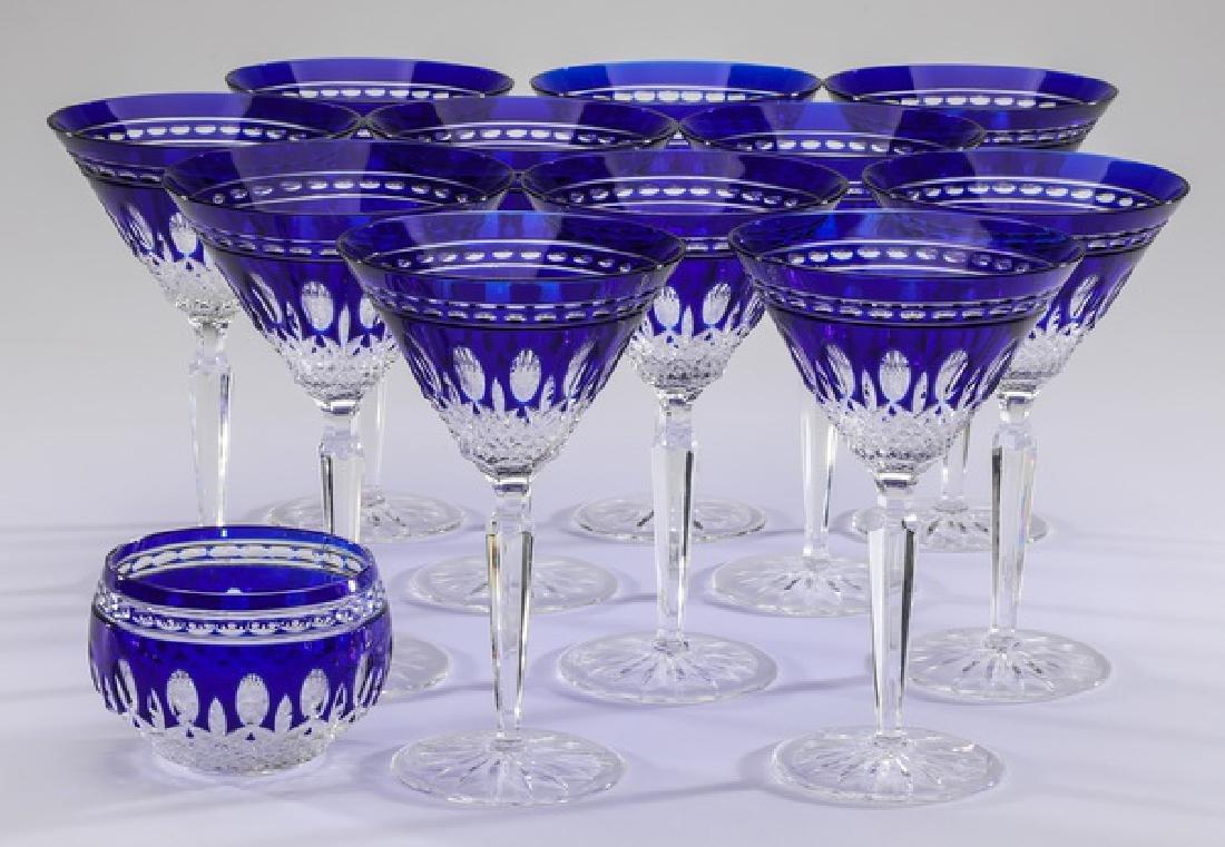 (13) Waterford 'Clarendon Cobalt' martinis & votive