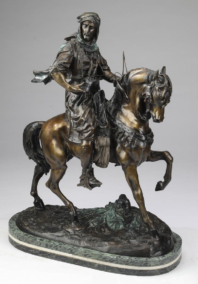 Orientalist bronze 'Arab Cavalier,' after Barye