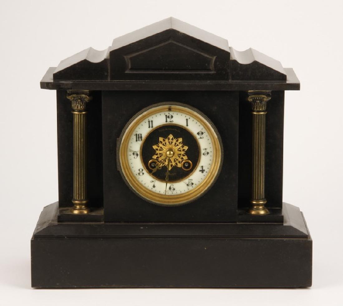 19th c. black Belgian marble mantel clock