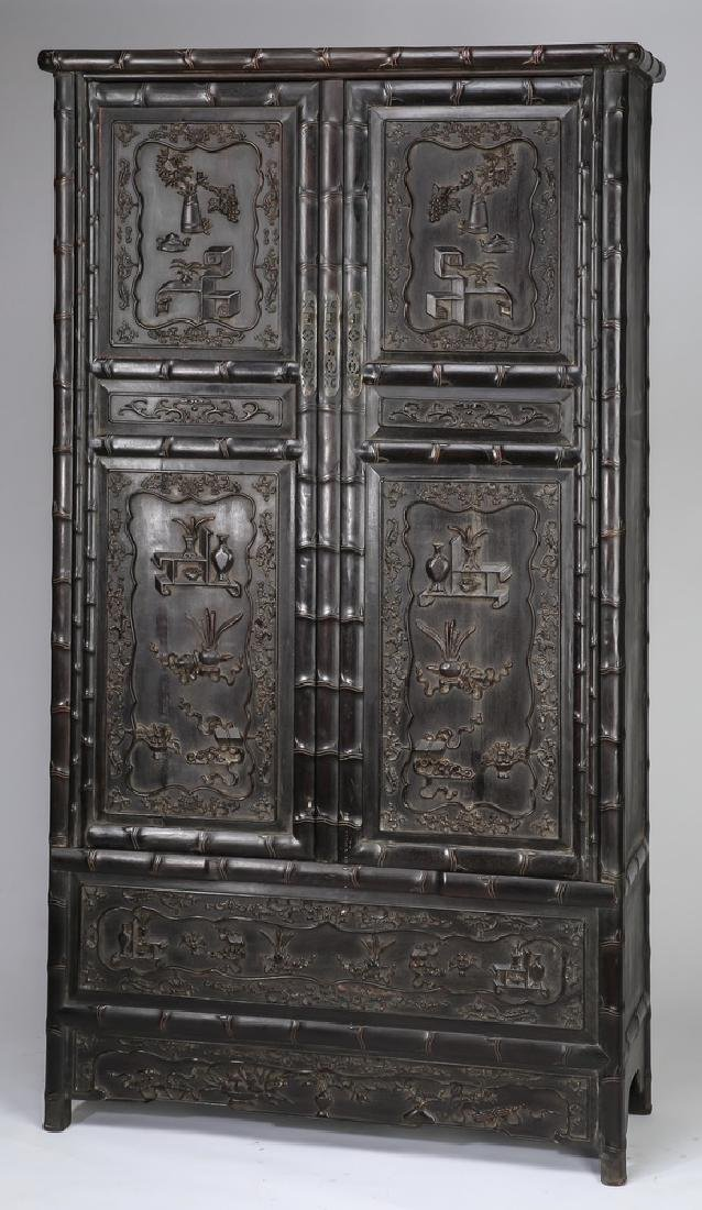 """Chinese carved 'bogu' cabinet, 78.5""""h"""