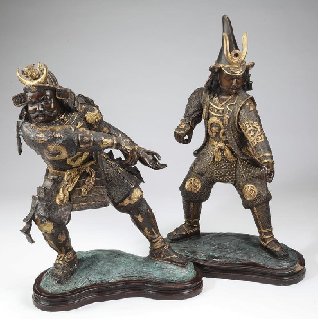 (2) Patinated metal sculptures of Japanese samurai