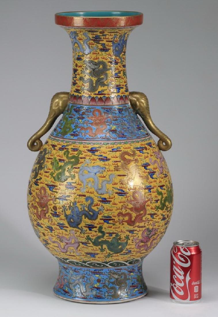 "Chinese famille jaune baluster vase w/ dragons, 24""h"